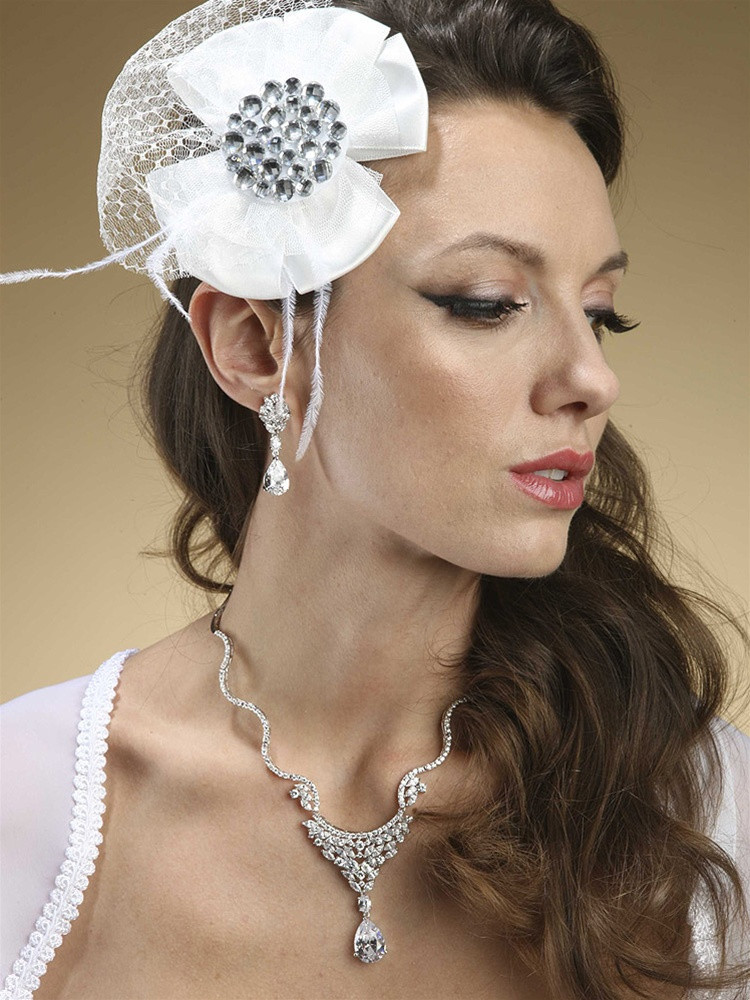 Jeweled Satin Flower Hair Clip With Tulle And Feathers