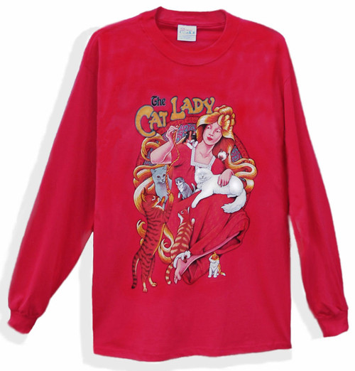 CAT LADY LONG SLEEVE T-SHIRT RED