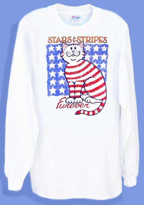 STARS STRIPES LONG SLEEVE CAT T-SHIRT WHITE