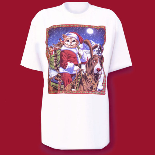 Here comes Santa Claws riding Rudolph the red nosed hound dog. You'll look feline festive for all your holiday parties in this humorous T-shirt with original artwork available exclusively at Meow.Com.