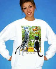 Call of the Wild Cat lovers sweatshirt features two cats looking out at a spring day...birds, flowers, butterflies, squirrels...oh my!