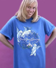 COUNT YOUR BLESSINGS CAT T-SHIRT BLUE