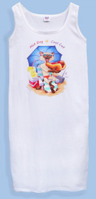 HOT DOG COOL CAT TANK DRESS WHITE ONE SIZE