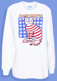 STARS STRIPES LONG SLEEVE CAT T-SHIRT WHITE