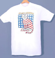 STARS  STRIPES CAT T-SHIRT WHITE