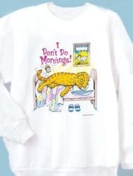 DONT DO MORNINGS CAT SWEATSHIRT WHITE
