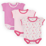 JoJo Maman Bébé 3-Pack Pretty T-Shirt Bodies