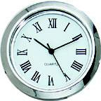 1-7/16 (36mm) Chrome Bezel White Face Roman Clock Insert/Fit Up