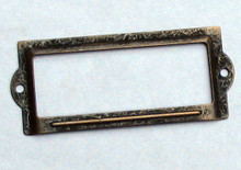 Card/Label Holder 3-1/2x1-1/2 Antique Brass Plated