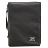 "Black Poly-canvas Value Bible Cover with Fish Badge (6.6"" x 9.6"" x 1.75"")"
