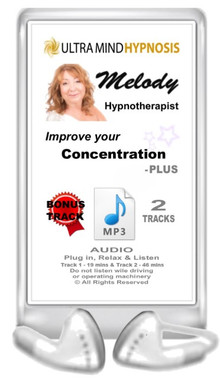Enjoy this Audio MP3 - Simply Plug in, Relax & Listen to enjoy the hypnotic suggestions of this 'Concentration' MP3 - 19 minutes Plus Bonus track - 46 minutes ... Please do not listen to while driving or operating machinery. Copyright - All rights reserved.