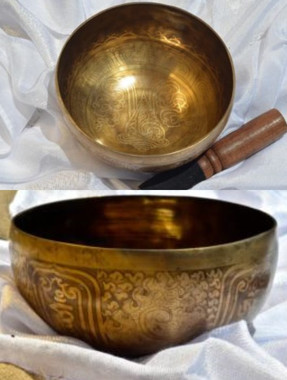Item - 332016995232 - $250 Tibetan Sound Healing Bowls Hand Made with Inlaid Mantras The Tibetan Sound Bowl produces harmonic and healing sound vibrations, ideal for Chakra Balancing, Personal Well Being and Energy Healing. This hand made bowl is inlaid with Ancient Mantras, also whilst the bowls are being made, chanting occurs throughout the making, enhancing the healing vibrations of the bowl when played. Specifications: Size: 15cm diameter x 8cm depth Material: Hand made with seven metals. Note Produced: G,B,A Package Includes: 1x Sound Bowl, 1x Striker Please note:  As the singing bowls are hand crafted there may be slight imperfections and variations in measurements. Shipping: Australian registered post
