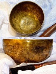 Item - 332074666342 - $205 Tibetan Sound Healing Bowls Hand Made with Inlaid Mantras - Item: MSH-6342 Features: The Tibetan Sound Bowl produces harmonic and healing sound vibrations, ideal for Chakra Balancing, Personal Well Being and Energy Healing. This hand made bowl is inlaid with Ancient Mantras, also whilst the bowls are being made, chanting occurs throughout the making, enhancing the healing vibrations of the bowl when played. Specifications: Size: 14cm diameter x 5cm depth Material: Hand made with seven metals. Note Produced: A-D Package Includes: 1x Sound Bowl & 1x Striker Please note:  As the singing bowls are hand crafted they may have slight variations in measurements and slight imperfections. Shipping: Australian registered post