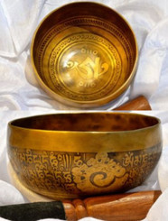Item - 332016992037 - $190 Tibetan Sound Healing Bowls Hand Made with Inlaid Mantras Features: The Tibetan Sound Bowl produces harmonic and healing sound vibrations, ideal for Chakra Balancing, Personal Well Being and Energy Healing. This hand made bowl is inlaid with Ancient Mantras, also whilst the bowls are being made, chanting occurs throughout the making, enhancing the healing vibrations of the bowl when played. Specifications: Size: 13.5cm diameter x 7cm depth Material: Hand made with seven metals. Note Produced: C-F Package Includes: 1x Sound Bowl & 1x Striker Please note: As the singing bowls are hand crafted they may have slight variations in measurements and imperfections. Shipping: Australian registered post