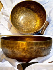 Item - 332016745282 - $485 Tibetan Sound Healing Bowls Hand Made with Inlaid Mantras Features: The Tibetan Sound Bowl produces harmonic and healing sound vibrations, ideal for Chakra Balancing, Personal Well Being and Energy Healing. This hand made bowl is inlaid with Ancient Mantras, also whilst the bowls are being made, chanting occurs throughout the making, enhancing the healing vibrations of the bowl when played. Specifications: Size: 22cm diameter x 12cm depth Material: Hand made with seven metals. Note Produced: F-G Package Includes: 1x Sound Bowl & 1x Striker Please note: As these singing bowls are hand crafted they may have slight variations in measurements and slight imperfections. Shipping: Australian registered post