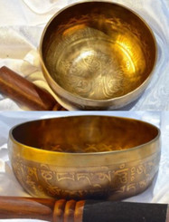 Tibetan Sound Healing Bowls Hand Made Inlaid Mantras - Item: MSH-1243 Features: The Tibetan Sound Bowl produces harmonic and healing sound vibrations, ideal for Chakra Balancing, Personal Well Being and Energy Healing. This hand made bowl is inlaid with Ancient Mantras, also whilst the bowls are being made, chanting occurs throughout the making, enhancing the healing vibrations of the bowl when played. Specifications: Size: 14cm diameter x 7cm depth Material: Hand made with seven metals. Note Produced: A-B Package Includes: 1x Sound Bowl & 1x Striker Please note: As these singing bowls are hand-crafted they may have slight variations in measurements and slight imperfections. Shipping: Australian registered post.