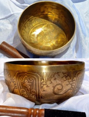 Tibetan Sound Healing Bowls Hand Made Inlaid Mantras - Item: MSH-8442 Features: The Tibetan Sound Bowl produces harmonic and healing sound vibrations, ideal for Chakra Balancing, Personal Well Being and Energy Healing. This hand made bowl is inlaid with Ancient Mantras, also whilst the bowls are being made, chanting occurs throughout the making, enhancing the healing vibrations of the bowl when played. Specifications: Size: 15cm diameter x 8cm depth Material: Hand made with seven metals. Note Produced: C-G Package Includes: 1x Sound Bowl & 1x Striker Please note: As these singing bowls are hand-crafted they may have slight variations in measurements and slight imperfections. Shipping:  Australian registered post.