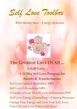 Melody's Self Love Toolbox -   Are you looking for more Self Love? Seeking Change, Results and Transformation?   Melody's Self Love Toolbox includes:  A Beautiful Self Love and Healing Meditation  Over 50 Self Love Affirmations to download for 21 days or as often as you choose  A Variety of Self Love Affirmations in PDF Format  AND best of all, Energy Clearing Processes, to Change Your Energy and Love Your Life!  Normally $200 per session!