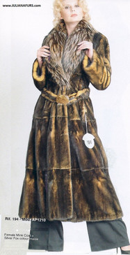 Female Skin on Skin Mink Coat, Shawl Fox Collar, Mink Belt