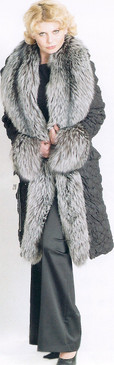 Crinkled Silk Coat, Large Silver Fox Front and Cuffs