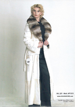 Female Ivory Mink Coat, Chinchilla Collar, Python Trim