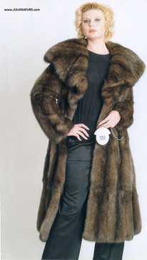 Whole Skin Natural Russian Sable Coat, Shawl Collar