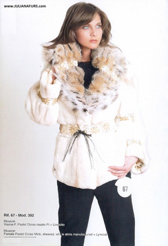 Sheared, Female Pastel Cross Mink, Lynx Collar