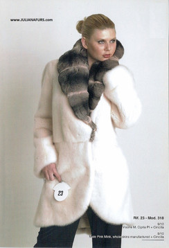 Dyed Male Pink Full Skin Mink Jacket with Chinchilla Collar Jacket