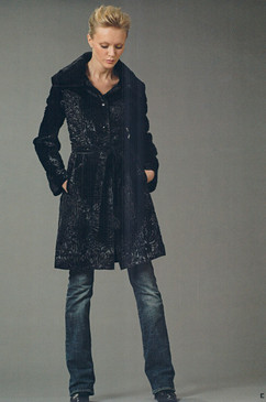 Dyed Black Russian Broadtail Coat, Semi Fitted, Belted