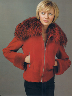 Dyed Red Shearling Jacket, Dyed Red Fox Collar