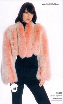 Dyed Pink Fox Fur Bolero Jacket