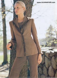 Wool Blazer with Mink Trim