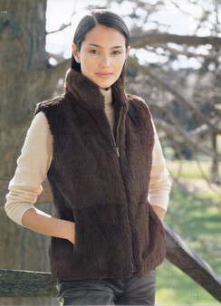 Fur Restyle Reversible Vest to Silk Fabric