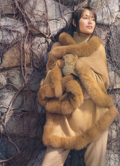 Whiskey Colored Cashmere Large Cape Fox Trim