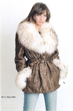 Taupe Fabric Jacket with Fox Fur Collar and Cuffs