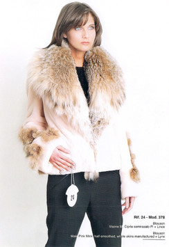 Male Pink Mink, Semi Sheared Full Skin Mink, Lynx Collar