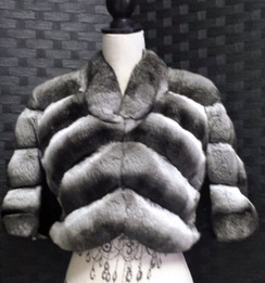 Chinchilla Bolero Jacket, Sheared Mink Underarm, Short Sleeves