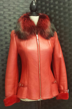 Red Shearling Fin Raccoon