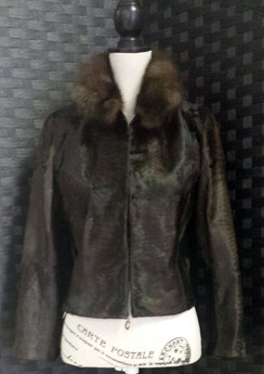 Brown Russian Broadtail Jacket Russian Sable Collar