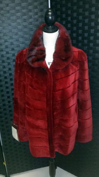 Red Dyed Sheared Mink Jacket, Dyed Long Hair Mink Collar