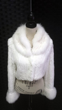 White knit rex rabbit jacket with knit Shadow fox trim