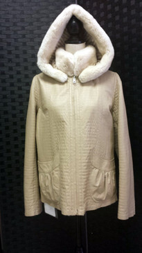Beige dyed sheared rex rabbit jacket reversible to lamb napp with hood