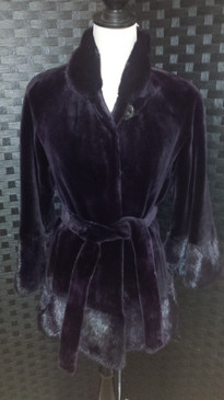 Dk Purple Dyed Sheared Mink Jacket with Long Hair Mink Trim and Sheared Mink Belt