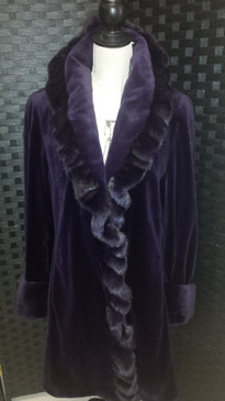 Purple dyed sheared let out mink 7/8 code with long hair mink trim