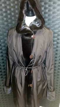 Brown dyed sheared mink jacket with hood with long hair trim, reversible to silk, sh mink belt