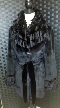 Black dyed sheared mink 3/4 length jacket, sheared mink / feathers fringe trim