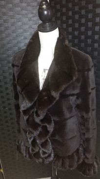 dark brown dyed sheared mink jacket with inserts and long hair mink trim