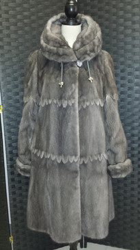 Gray female mink reversible to silk, silk scarf