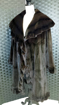 Sheared brown mink coat, ruffle trim reversible to brown silk