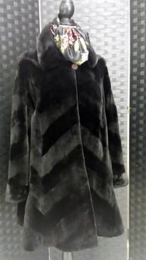 Dark brown sheared mink, diagonal pattern, bell sleeves